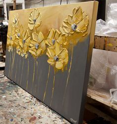 Original amarillo Floral pintura acrílico abstracto arte