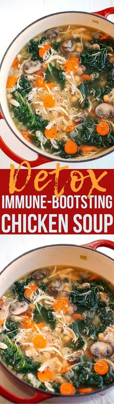 This Detox Immune-Boosting Chicken Soup is the perfect remedy for cold and flu season filled with tons of antioxidants that boost immunity and keep you warm all winter long! This Detox Immune-Boosting Ch Clean Eating Recipes, Healthy Eating, Cooking Recipes, Cooking Tips, Clean Eating Soup, Healthy Liver, Milk Recipes, Healthy Food, Tasty Vegetarian
