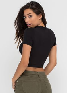 Basic Foundation Mockneck Crop Top BLACK