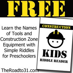 FREE Construction Kids Riddle Reader for Preschoolers