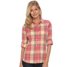 Women's Woolrich Tall Pine Plaid Seersucker Shirt, Size: Small, Lt Yellow