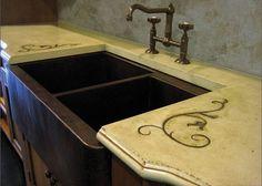 rustic cement countertops | Rustic concrete countertop with a copper farm sink ... | Kitchen De...