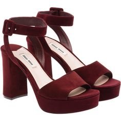Miu Miu Sandals (£435) ❤ liked on Polyvore featuring shoes, sandals, heels, burgundy, miu miu sandals, burgundy sandals, platform sandals, high heel sandals and burgundy high heel shoes
