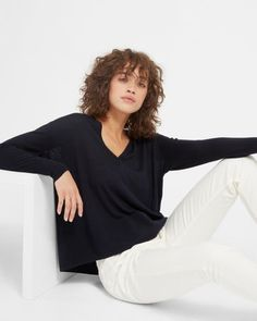 9d4b4574fd The Luxe Wool Square V-Neck - Everlane Fashion Books