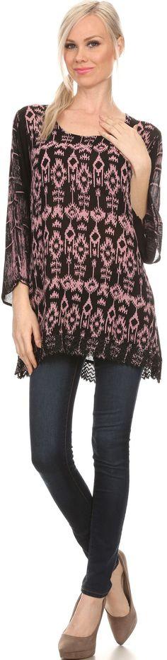 Sakkas Svetlana Scoop Neck Long Sleeve Aztec Print Crochet Hem Blouse Shirt Top
