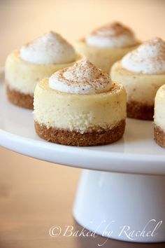 This easy Christmas dessert recipe for Mini Eggnog Cheesecakes from @Rachel {Baked by Rachel} is a much better option for Santa than leaving out a regular, ol' plate of cookies. Plus, you could save a few for a midnight snack!