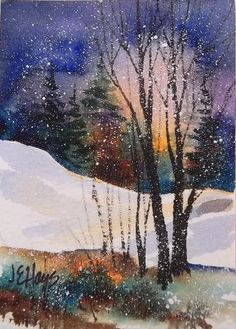Watercolor painting winter twilight snow art inspiration в 2 Watercolor Landscape, Watercolor Paintings, Watercolours, Landscape Artwork, Winter Art, Winter Snow, Tree Art, Art Techniques, Painting & Drawing