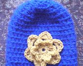 Blue & Gold Crochet Hat with Flower for Girls / Ladies