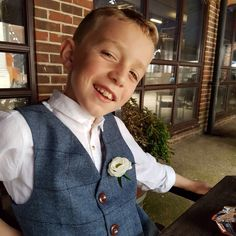 Gorgeous customer wearing his bespoke waistcoat. Pageboy style. Wedding inspiration. Kids at weddings