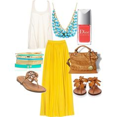 Turquoise and Tan, created by vnomura on Polyvore