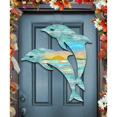 The Holiday Aisle Dolphin Scenic Sunset Wooden Decorative Do.- The Holiday Aisle Dolphin Scenic Sunset Wooden Decorative Door Hanger Internal Wooden Doors, Wood Doors, Pine Doors, Steel Doors, Wooden Decor, Wooden Diy, Diy Wood, Wooden Door Hangers, Delphine
