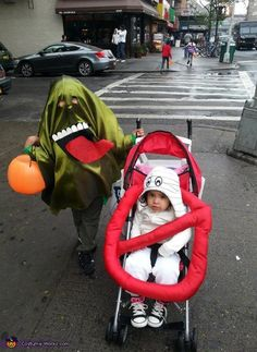 Slimer and the Ghostbuster Sign - Homemade Halloween Costume