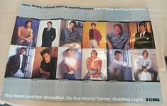 "1991 calendar Poster CBS male soap stars collectible 30""x 21"" y&r BnB vintage NM"
