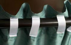 DIY back tab curtains DIY ribbon tab curtains Closet Curtains, No Sew Curtains, How To Make Curtains, Cool Curtains, Rod Pocket Curtains, Bedroom Curtains, Diy Bedroom, High Curtains, Master Bedroom