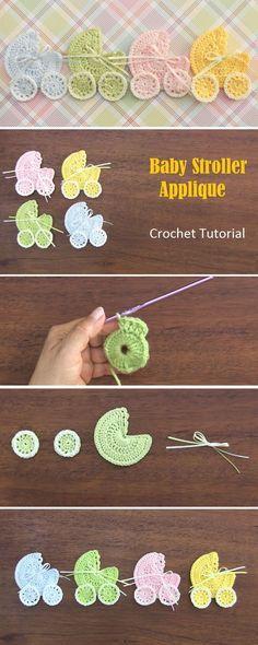 Baby Stroller Applique – Crochet Tutorial - Crochet and Knitting Patterns Applikationen da Baby Stroller Applique – Crochet Tutorial - Crochet and Knitting Patterns Crochet Gifts, Cute Crochet, Crochet Motif, Crochet Flowers, Crochet Stitches, Crochet Design, Crochet Car, Crochet Appliques, Baby Knitting Patterns
