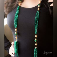 We're crushing over this amazing piece of long necklace in brilliant green beads. Get it before it's gone, only at Joules by Radhika. #JoulesByRadhika #Jewellery #Neckpiece #Necklaces #Beads #Green #Glam #Love #MakeAStatement #StatementNeckpiece