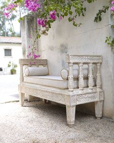 Outdoor Bench & Cushion Set from Horchow. Shop more products from Horchow on Wanelo. Garden Furniture, Diy Furniture, Outdoor Furniture, Outdoor Decor, Outdoor Daybed, Bedroom Furniture, Outdoor Spaces, Outdoor Living, Bench Cushions