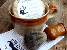 Men's Shaving Gift Set with ceramic mug, handmade shave soap, brush and shave card with instructions on how to have a classic shave./ Dirty Deeds Soaps- Shaving, Grooming Accessories and Handmade Soaps.