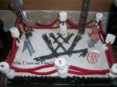wrestling birthday cake DIY boy party