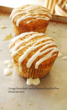 Orange Marmalade Swirled Banana Bread Muffins from @Anuradha | Baker Street