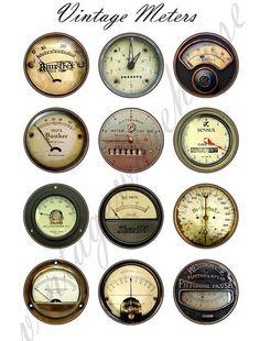 Vintage INDUSTRIAL METERS - steampunk dials,gauges and meters  Digital Collage Sheet - craft circle download 1,1.5,2 in, 16mm