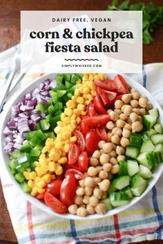 This easy garbanzo bean salad is a awesome vegan recipe that's perfect for healthy summer lunch - filled with cucumber, tomatoes and corn, with a cilantro lime dressing. Bean Salad Recipes, Salad Dressing Recipes, Grilling Recipes, Cooking Recipes, Fiesta Salad, Cilantro Lime Vinaigrette, Garbanzo Bean, Plant Based Whole Foods, Lime Dressing