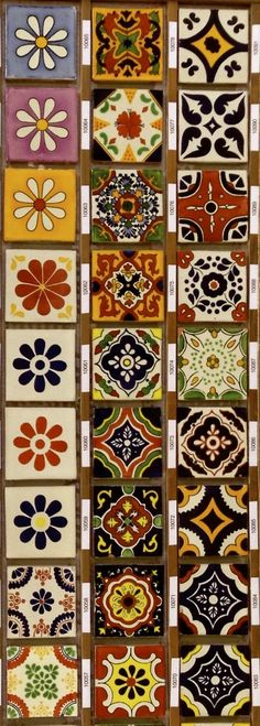 If y Individually hand-painted in Mexico and red clay fired in wood kilns in the traditional method, slight variations in color and crazing are normal Tile Art, Mosaic Tiles, Wood Kiln, Traditional Tile, Tuile, Spanish Tile, Mexican Art, Mexican Tiles, Tile Patterns
