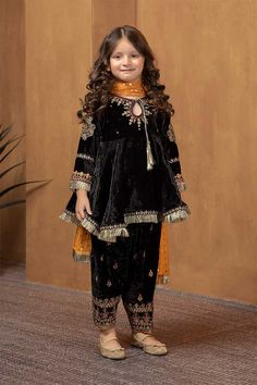 Pakistani designer Maria B shalwar kamee on Mercari Pakistani Kids Dresses, Pakistani Dress Design, Black Pakistani Dress, Pakistani Suits, Indian Suits, Kids Summer Dresses, Dresses Kids Girl, Baby Dress Design, Frock Design