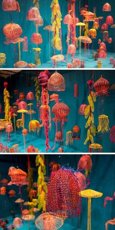 - Sculpture - Print the sulpture yourself - Arline Fisch-Creatures From the Deep trash art 3d Art, Jellyfish Light, Pink Jellyfish, Trash Art, Plastic Art, Textile Fiber Art, Yarn Bombing, Crochet Art, Wire Crochet
