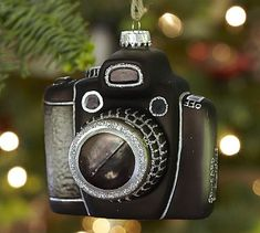 Love this Vintage Camera Glass Ornament from @Pottery Barn #camera