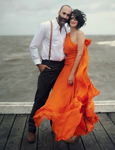 A CUP OF JO: Do or Don't: Colorful wedding dresses - Wedding Gown Love in Orange / Coral / Sunset Orange - This shade of Orange works well with all skin hues.
