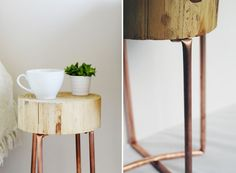 Make It: DIY Copper Pipe and Wood Slice Side Table » Curbly | DIY Design Community
