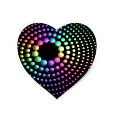 Rainbow Spheres on Black Heart Sticker