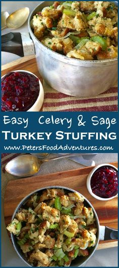 Love this Stove Top Stuffing recipe! So easy to make and delicious too! Larger recipe made with a loaf of sliced bread, celery, chicken stock and traditional sage. Trust me, your family will want seconds! Thanksgiving Recipes, Holiday Recipes, Great Recipes, Dinner Recipes, Favorite Recipes, Healthy Recipes, Christmas Recipes, Delicious Recipes, Thanksgiving Feast