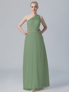 Pin to Win a Wedding Gown or 5 Bridesmaid Dresses! Simply pin your favorite dresses on www.forherandforhim.com to join the contest! | One-shoulder Pleated Tulle Dress �123.68