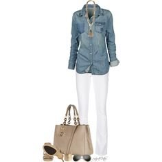 """The perfect denim shirt and white jeans. """"Untitled #614"""" by partywithgatsby on Polyvore"""