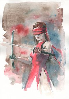Elektra Daredevil Watercolor by C100D17 - Elodie Yung