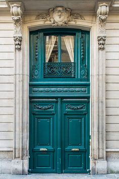 """""""French Doors and Their Meaning""""  At this address in Paris, from 1910 to 1920, lived the American writer Edith Wharton, author of """"The Decoration of Houses"""" and """"French Ways and Their Meaning"""".  Taken in January, 2014. - Paris Photography - French Door Travel Photograph, Teal Architectural Fine Art Print, French Home Decor, Large Wall Art"""