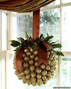 "Walnut Ornament, instructions and video showing how to make it.  Large for a window display, starts with an 8"" styrofoam ball.  So stunning!"