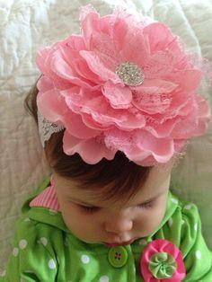 Baby headband - newborn headband - pink baby headband - large pink flower headband - lace elastic headband - pink lace flower headband baby