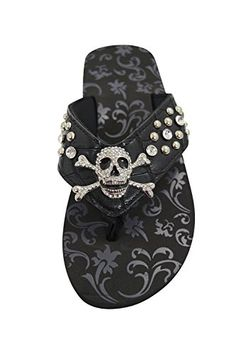 5a57ccde9 Gothic Punk Rock Bling Skull and Crossbone Concho Metal Bling Studed Black  Flip Flops 6  gt