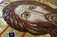 """Мозаика """"Спас Нерукотворный"""". Размер 55 Х 66 см, материал: смальта, золотая смальта.  Мозаика установлена над входом в храм в честь Велико..."""