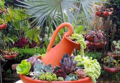 30 Amazing DIY ideas for decorating your garden uniquely 30 Amazing DIY ideas for decorating your garden uniquely Look how nice it is. We brought amazing DIY ideas to decorate the garden. They are wonderful ideas that can transform the garden decoration … Succulents In Containers, Cacti And Succulents, Planting Succulents, Planting Flowers, Cactus Plants, Succulent Gardening, Container Gardening, Garden Planters, Ideas For Planters