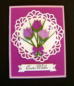 Greeting Card Holder, Making Greeting Cards, Greeting Cards Handmade, Easter Wishes, Quilling Cards, Mothers Day Cards, Flower Cards, Homemade Cards, Holiday Cards
