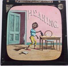 Hearing - Antique Black Americana Magic Lantern Slide c1880 - Five Senses