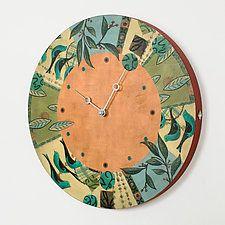 """New Capri Spice Clock by Janna Ugone and Justin Thomas (Mixed-Media Clock) (13"""" x 13"""")"""