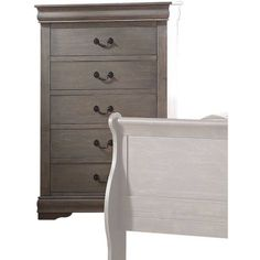 ACME Furniture Louis Philippe Antique Gray Chest with Five Drawers Teen Dresser, Dresser With Tv, Dresser Tv Stand, 5 Drawer Dresser, 5 Drawer Chest, Dressers, Chest Drawers, Grey Bedroom Furniture, Chest Furniture