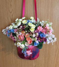 Gourgeous Front Door Flower Hanging Basket for Spring-Summer Unique Front Doors, Front Door Decor, Yellow Vase, Felt Wreath, Nuno Felting, Hanging Baskets, Summer Wreath, Shibori, Door Wreaths