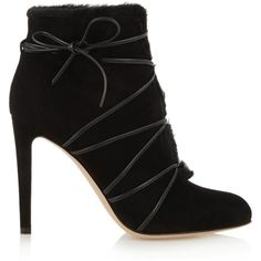 Gianvito Rossi Shearling-lined suede ankle boots ($1,305) ❤ liked on Polyvore