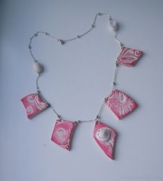 Texturized polymer clay and seashells necklace